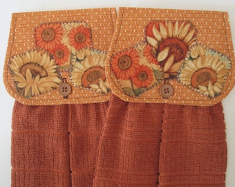 Hanging Kitchen Towel Set- Fall Sunflowers Orange Fabric Rust Terry Cloth Towels Button Closure