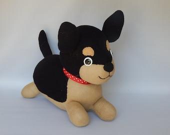 Chihuahua Plush Toy, Dog Stuffed Animal, Plushie, Sock Monkey, Stuffed Toy