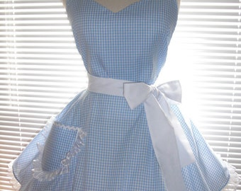 PLUS SIZE Sexy Retro Inspired Costume Apron Blue and White Gingham Full Circular Skirt - Ready to Ship