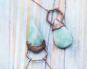 Mint green amazonite pendant, geometric pendant, teardrop green crystal, Rustic jewelry, copper bohemian gemstone pendant, Friendship gift
