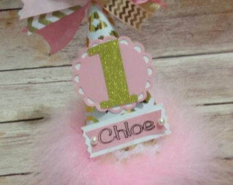 Girls personalized birthday party hat, 1st Birthday Party Hat, Pink and Gold Party, Girls First Birthday