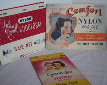 Vintage New Old Stock Rexall Drug Store Hair Nets 1950's 60's Set of 3 Envelopes Perfect for Retro Hair Salon Display Collectibles