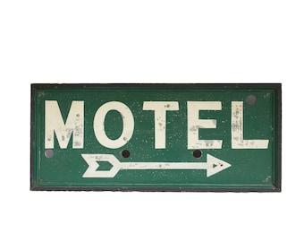 Vintage Sign / 1930's / Original Wood Framed Motel Arrow Sign / Hand Painted Metal Sign / Old Neon Highway Motel Sign