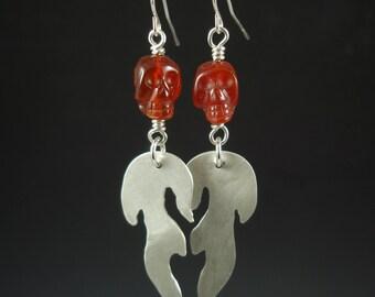 Flaming skull carnelian and silver earrings