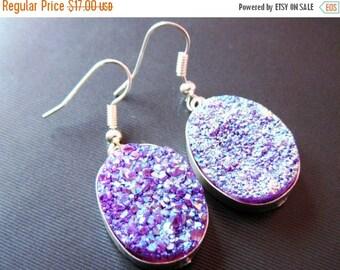 20%off. Druzy Earrings-Silver Framed Druzy Stone-Earrings-Purple druzy earring