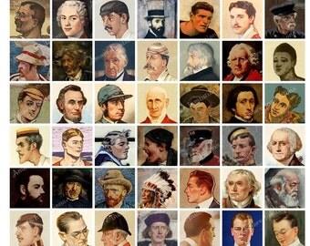 Printable Vintage Male / Men's Faces Digital Collage Sheet - 1 Inch squares - JPG - Instant Download - Downloadable - Commercial Use Cu use