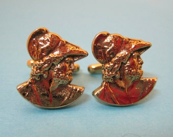 Vintage Gold Tone Cufflink Cuff Links Hickok Ceasar Greek Or Roman Profile DA