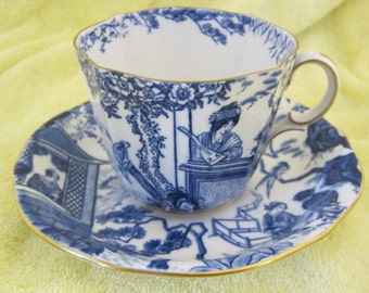 Royal Crown Derby Blue and White Asian Style Tea Cup and Saucer SHP