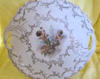 Victorian Tab Handle Cake Plate Platter with Cherub Design   SHP