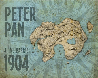 J. M. Barrie Peter Pan Neverland Map Post Fine Art Print Nursery