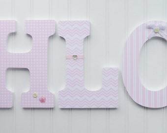 Custom and Personalized Wall Letters, Choose your Custom Colors, Nursery  Wall Decor, Wooden Letters, Custom Name, Pink and White Patterns