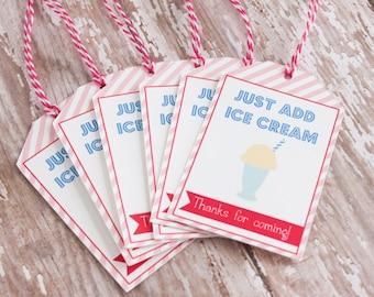 Ice Cream Party, Ice Cream Sundae Favor Tags, Ice Cream Tags, Ice Cream Shoppe Favor Tags, Root Bear Float Tags