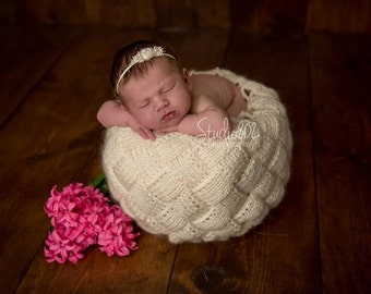 Knitting Basket Cover, Newborn Photo Prop, Newborn Basket Prop - Newborn Knit Basket by Princesa Anastasia, choose more colours