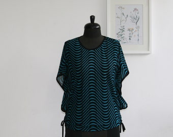 Vintage blue and black top/ summer shirt/ size l / women blouse/ sheer top/  Free shipping