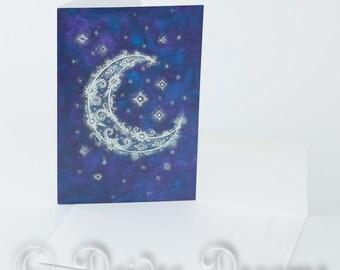 Crescent Moon Card, Greeting Card, Greetings Card, Christmas Card, Xmas Card, Holiday Card, Yule Card, Moon and Stars Card, Flower Card