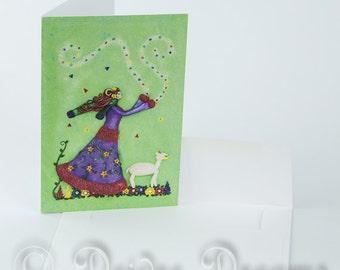 Aries Card, Zodiac Card, Astrology Card, Greeting Card, Black Note Card, Greetings Card, Birthday Card, Aries Girl, Aries Goddess Sheep Card