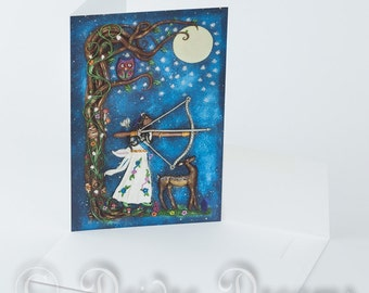 Diana / Artemis Card, Goddess of the Moon, Greeting Card, Moon Goddess Card, Greetings Card, Blank Note Card, Birthday Card, Yule Card