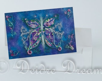 Butterfly Card, Valentine Card, Greeting Card, Greetings Card, Fairy Card, Birthday Card, Christmas Card, Holiday Card,Xmas Card,Flower Card