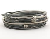 Black Gray Silver Leather Bracelet, Men's Metallic Gray Silver Black Wrap Boho Bracelet, Minimalist Bracelet, gift for her, gift for him