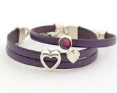Romantic jewelry gifts. Set of 2 Purple Leather Bracelet, Violet Orchid Violet Leather Cuff Women Swarovski Crystal Bracelet