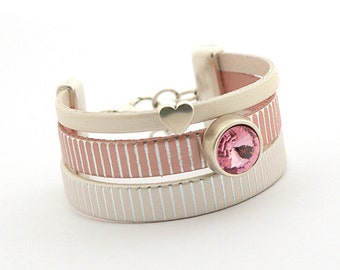 ROSE QUARTZ Pale Pink Cream Leather Bracelet, Pink Ivory Leather Cuff Women, Swarovski Crystal, Christmas gift for her