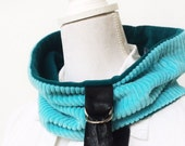 Turquoise on Turquoise Sewn Collar Scarf, Cowl, Leather and Silver D Ring buckle, lined, Fall Winter Accessory