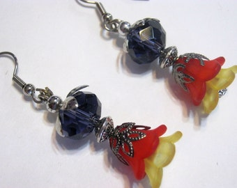 Fairy Flower Red n Yellow Earrings