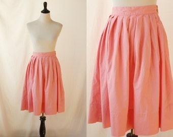 1960s pink skirt | vintage 60s cotton skirt