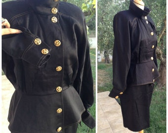 Gorgeous Black 'Jimmy Gamba' Wool Skirt Suit, Blazer Jacket matching skirt, gold thread detail, bat wing, size U.S. 8/10 medium, Greece