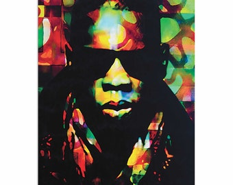 Pop Art 'Jay Z Color of a CEO' by Artist Mark Lewis, Colorful Jay-Z Painting Limited Edition Giclee Print on Metal or Acrylic