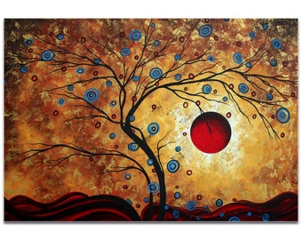 Landscape Painting 'Free as the Wind' by Megan Duncanson - Abstract Tree Art Warm Autumn Decor on Metal or Acrylic