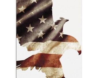 Patriot Eagle   Contemporary Metal US Flag Silhouette Art