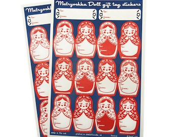 Gift Tag Stickers in Matryoshka Dolls - 2 Sheets - Navy and Red - Corresponds with Russian Nesting Doll Gift Wrap