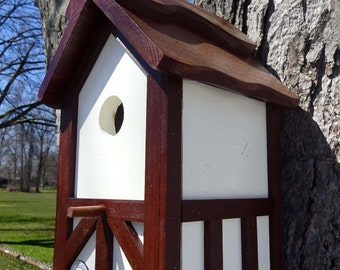Tudor birdhouse, Nesting Box ,Old English bird house, birdhouse with cleanout, tree mount, post mount, Handmade, Brown roof ,Made in USA