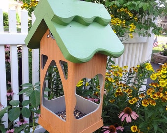 Birdfeeder,PVC,wood,hanging tray feeder,fully functional,ez fill ez clean,open viewing,suet holder,contemporary,made in USA