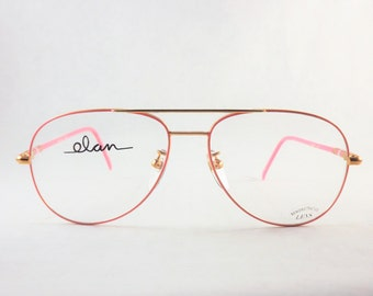 bubblegum pink aviators unisex big eyeglasses mens or womens pink and gold glasses vintage frames new old stock metal frames