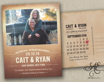 Rustic Wedding Save The Dates Photo Magnets Postcards Cards Calendar Rustic Vintage Shabby Chic Country Beach Peach Blush Navy Modern