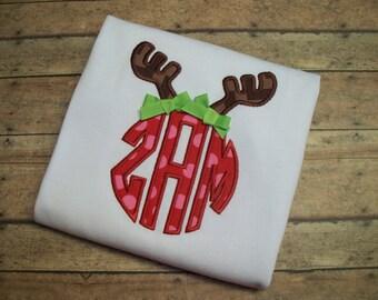 SALE- Christmas sale- deer antler monogram shirt- girls shirt- Christmas Monogram Shirt- Reindeer applique shirt- Christmas Applique shirt