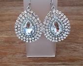 """Silver Crystal """"Joan"""" Teardrop Earrings"""