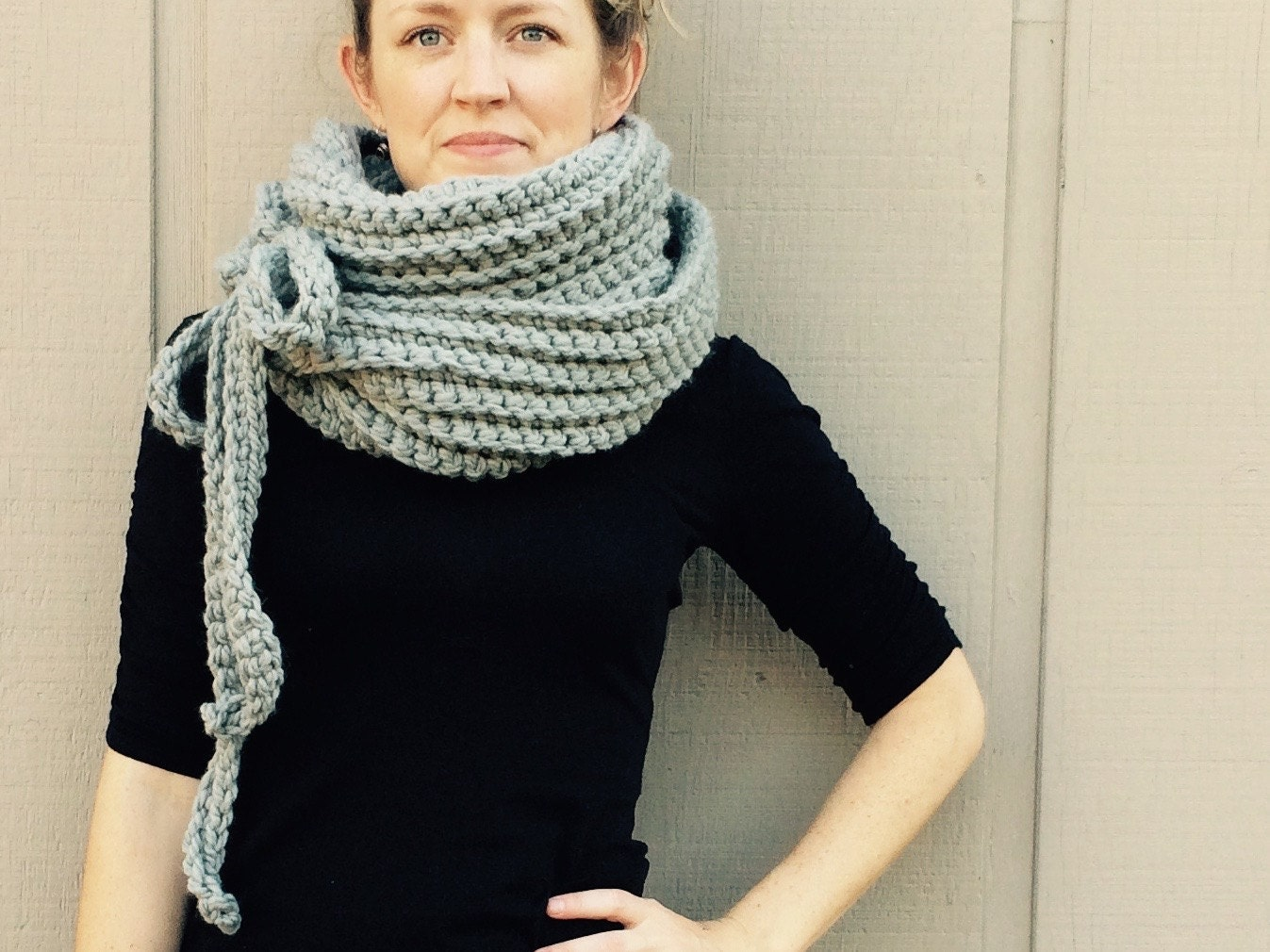 Diy crochet pattern super bulky yarn easy crochet p d f chunky diy crochet pattern super bulky yarn easy crochet p d f chunky yarn scarf cowl with ties instant download the kristin scarf bankloansurffo Choice Image