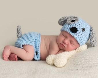 Puppy hat, crochet puppy outfit, newborn boy hat, newborn puppy hat, puppy hat set, newborn photo prop, baby boy hat, baby puppy hat