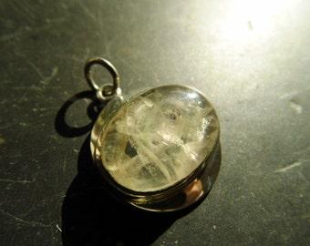 Pendant, sterling silver, aquamarine, white, silver. Jewelry