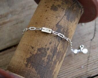 Monogram Bracelet, Sterling Silver or 14K Gold.