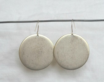 Tag Earring, Large Silver