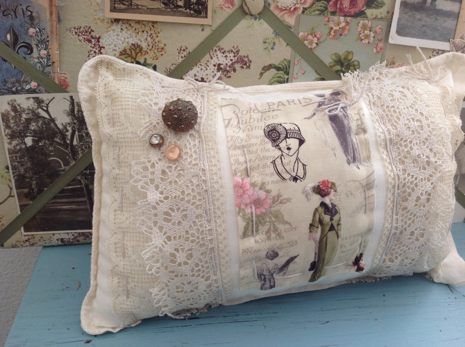 Shabby Chic Pillow Images : Shabby chic vintage sack paris pillow lace pillow shabby
