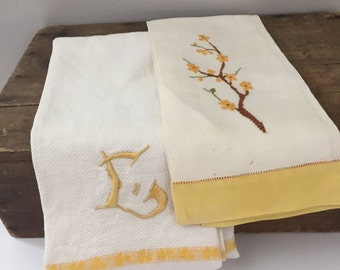 Vintage Two Yellow Tea Guest Towels Dogwood Cross-Stitched and Monogram