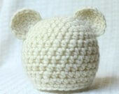 Newborn Bear Hat , Photo Prop, Newborn Beanie, Infant Hat.