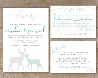 harry potter printable always doe and stag wedding invitation suite nerd wedding invitation diy - Harry Potter Wedding Invitations