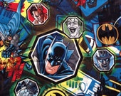 Batman comic strip fabric 108cm by 75cm beight colourful