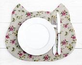 Placemat Cat, Fabric placemat, floral pattern